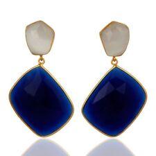 Blue Corundum White Moonstone Gemstone Jewelry 925 Sterling Silver Earrings