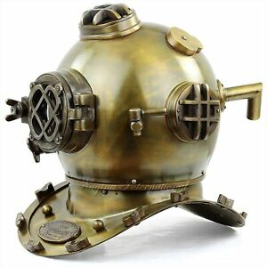 Antique Brass Oil Rubbed Finish Scuba Diving Helmet Nautical Decor 18 inch