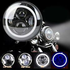 7'' Moto LED Headlight Bleu Halo Angle Eye Phare Ampoule Pr Harley Jeep Wrangler