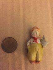 """Antique 1.75"""" Tiny Bisque German Penny Doll Boy W/ Sailboat"""