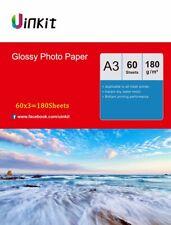 180 Sheets A3  Photo Paper Inkjet Paper Printer 420x297 High Gloss 180Gsm Uinkit