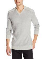 Calvin Klein - Men's XXL - NWT$79 - Heather Gray Cotton Blend L/S V-Neck Sweater