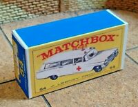 MATCHBOX REG. NO.54 CADILLAC AMBULANCE CUSTOM REPLACEMENT DISPLAY BOX ONLY