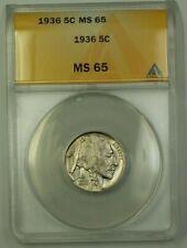 1936 US Buffalo Nickel 5c Coin ANACS MS-65 Gem (Better) B