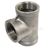 "1-1/4"" Tee 3 way Female Stainless Steel 304 Threaded Pipe Fitting NPT NEW"