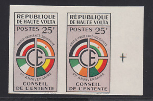 Burkina Faso Sc 90 MNH. 1960 25f  Council of the Entente, imperf pair, VF
