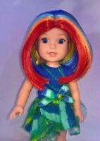 """8-9 Custom Doll Wig fit Dolfie, bjd-Luts- Wellie Wisher...""""L'il Rainbow"""" bn1"""