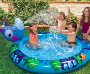 "Banzai Kickin' Back RHINO Inflatable Pool W/ Built In Sprinkler - 63"" Diameter"