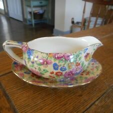 Rare Royal Winton China Chintz-RINVER-Sauce Boat or Creamer w/ Underplate