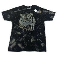 Reason Mens Graphic T-Shirt Embellished Tiger Black Sz XL