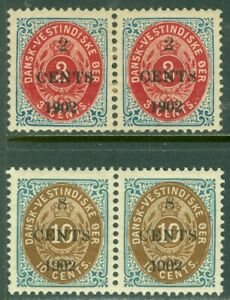 EDW1949SELL : DANISH WEST INDIES 1902 Scott #24 + 24a, 25 + 25a pairs VF Mint OG