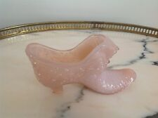 FENTON? Vintage OPAQUE PINK OPALESCENT Glass DAISY BUTTON Cat & SHOE SLIPPER