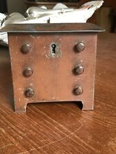 Victorian  / Edwardian Chest of Drawers Tin Money Box