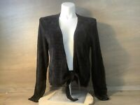 Coldwater Creek Womens BLACK OPEN FRONT CARDIGAN WITH TIE FRONT SIZE XL LONG SLV