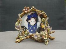 Picture Frame Jeweled Parrot Vines & Flowers Tabletop Frame Round Display