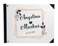 Darling Souvenir White Leaves Wedding Guestbook Hardbound Cover-8Je