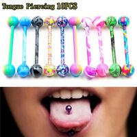 10X/Set Stainless Steel Balls Barbells Tongue Rings Nipple Piercing Body Je.ch