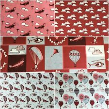 Fabric Freedom 100% Cotton UP IN THE CLOUDS Plane Craft & Dress Fabric Material