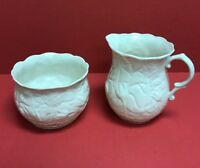 BELLEEK IRELAND Serenity Gold Trim Ivory 9th Mark Sugar Bowl & Creamer Pitcher