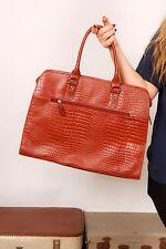Large tan croc pattern genuine leather handbag