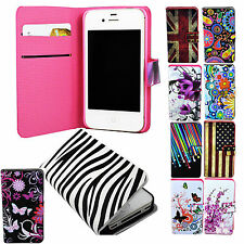 Flip Wallet Style PU Leather Case Cover Stand Pouch For Apple iPhone 4 4S 4G