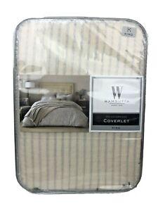 Wamsutta Knightsbridge Vintage Coverlet Striped Matelasse Slate King $150