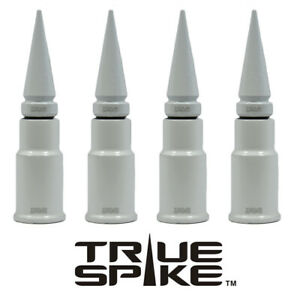 4 TRUE SPIKE WHITE SPIKED WHEEL RIM TIRE AIR VALVE STEM COVER CAP SET FOR TOYOTA