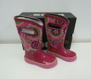New BOGS Kids Girls Rain Boots Sketch Dot Multi Print Size 10