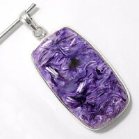 16g Top Grade Siberian Charoite 925 Sterling Silver Pendant Jewelry SDP47872