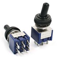 2Pcs AC 6A 125V DPDT Commutateur a bascule de 3 positions ON-OFF-ON W2I2