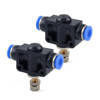 "2X 6mm Air Flow Speed Control Valve Tube 1/4"" Inch Pneumatic Push In Fitting New"