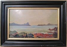 VINTAGE FRENCH OR AMERICAN IMPRESSIONIST SEASCAPE FINE OIL PAINTING PARIS LABEL