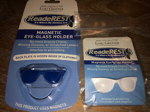 Readerest Lori Greiner Magnetic Eyeglass Holder Blue and White Shades Shape