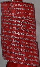 """Wired Ribbon~Joy to the World~Jesus~Christian~Bible~Christmas~Red~Silver~2.5"""""""