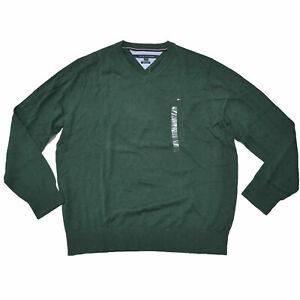 Tommy Hilfiger Mens Sweater V-Neck Pima Cotton Pullover Green Xxl Damaged New