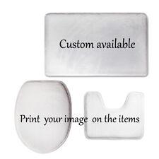 Custom Design 3 Pcs Toilet Seat Covers Set Soft Flannel Pedestal Mat Sink Rug
