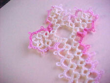 Tatted Cross Bookmarks Lace Mother's Day Gift Bible Pink Cream Tatting Book