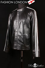 'LETHAL WEAPON' Black Men's White Striped Movie Film Real Style Leather Jacket