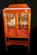 REGENCY Style Curio Display Cabinet Circa 1900s Mahogany Inlay & Original Glass