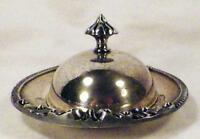 Silverplate Butter Dish Covered Scrolls Glass Insert Vintage Serving