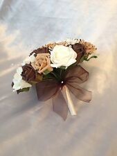 WEDDING FLOWERS CHOCOLATE BROWN COFFEE IVORY ROSE BRIDE BOUQUET ARTIFICIAL