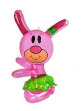 "14"" INFLATABLE HUG ME PINK RABBIT - FARM PARTY BLOW UP TOY KIDS ANIMAL GIFT"