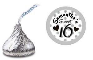 BLACK SILVER SWEET 16 SIXTEEN HERSHEY KISS STICKERS LABELS BIRTHDAY PARTY FAVORS
