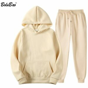 Men Solid Color Casual Sets Spring New Hoodies + Pants Tracksuit Trendy Set