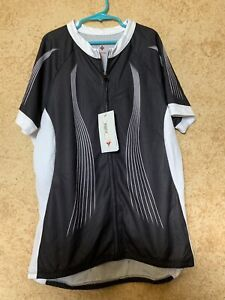 SPECIALIZED Womens NWT Cycle Jersey Black/White Zippered w/Back Pockets Size L