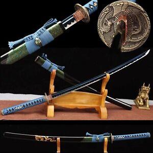 Handmade Blue Blade Spring Steel Japanese Samurai Sword Phoenix katana Cut tree
