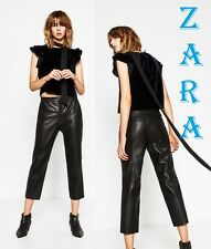 ZARA FAUX Leather Trousers Black Cropped Pants New W/Tags Capri Culottes Size XL