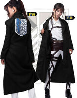 Attack on Titan Wings of Liberty Black Cloak Coat Cosplay Costume Fancy Dress