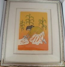 Early RC Gorman Native American Navajo low edition lithograph Making Corn flour