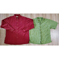 Tommy Bahama Mens Shirts Size XL Silk Lot of 2 Red Green
